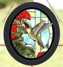 stain glass hummingbird hummingbird geraniums stained glass art