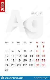 Minimalist Calendar Template For August 2020 Vector