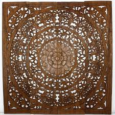 lotus panel 48 x 48 in h 3d brown stain natural wax  on lotus panel wall art with kiec
