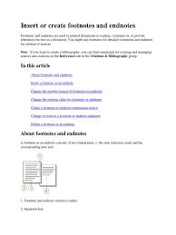 Insert Or Create Footnotes And Endnotes Note Typography Citation