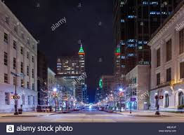 Downtown Raleigh Christmas Lights Street View Of Downtown Raleigh North Carolina At Night