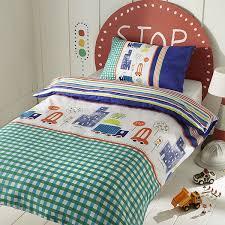 sleep scene kids traffic printed reversible duvet cover set blue single