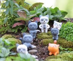 6pcs cartoon cat figures terrarium