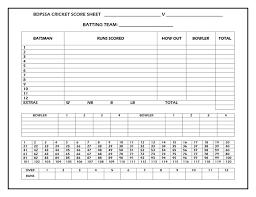 Cricket Score Card Format Cricket Score Sheet In Word And Pdf Formats