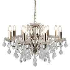 paris classic 8 light ceiling chandelier in antique brass with crystal glass 8738 8ab