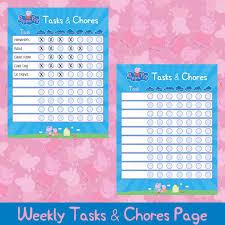Peppa Pig Tasks Chores Chart Peppa Pig Tasks Chores Tasks Chores Printable Kids Planner Kids Planner Activities Weekly Chart
