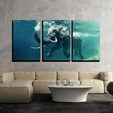 awesome 3 piece canvas wall art swimming elephant underwater in ocean uk  on 3 piece canvas wall art diy with awesome 3 piece canvas wall art astronomy artwork diy