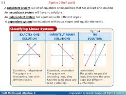 3 1 algebra 2 bell work a consistent system is a set of equations or