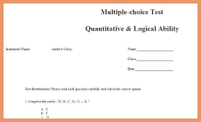 Excel Multiple Choice Test Template Multiple Choice Questionnaire Sample Example Templates Dissertation