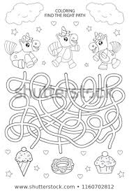 children maze and coloring kids labyrinth game and activity page find the right path for unicorns funny riddle education developing worksheet