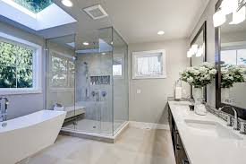 contemporary bathroom with recessed and wall mounted lights