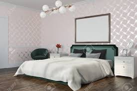 modern bed side view. Wonderful Side Banque Du0027images  Side View Of A Modern Bedroom Interior With White  Pattern Walls Double Bed And Framed Horizontal Poster Above It In Modern Bed View 7