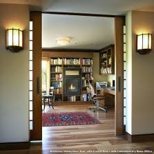 replacing sliding glass door with french doors with contemporary home office with a sliding doors office