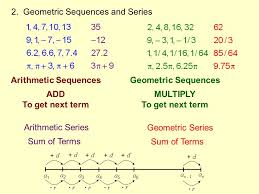 arithmetic sequences add to get next term geometric sequences multiply to get next term arithmetic series