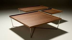 contemporary coffee table wooden metal square tosai by peter maly