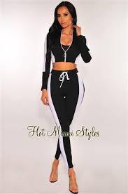 Black <b>Striped O</b>-<b>Ring</b> Zipper High Waist Two <b>Piece</b> Set