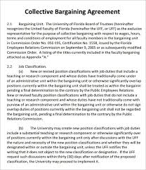 Agreement letters are letters written between two parties (one that renders a service and a second party, who accepts the service) to highlight the terms and conditions of the offered service. Free 3 Sample Collective Bargaining Agreement Templates In Pdf Ms Word