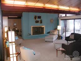 mid century modern living room with fireplace for