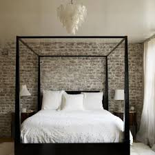 rustic elegant bedroom designs. Elegant Bedroom Design With Canopy Bed Frame And Exposed Brick Walls In Rustic Style Designs