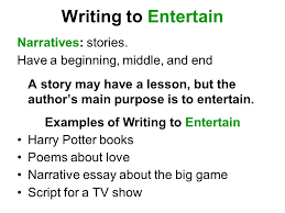 author s purpose modes of writing three reasons for writing to  writing to entertain narratives stories