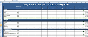 Expense Excel Template Daily Student Budget Template Of Expense Xls Free Excel