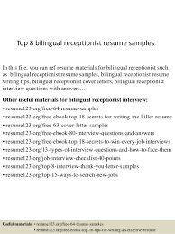 Top 8 bilingual receptionist resume samples In this file, you can ref resume  materials for ...
