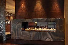 luxury model power vent linear fireplace with single sided and see through options