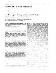 low dose aspirin therapy for chronic stable anginaa randomized low dose aspirin therapy for chronic stable anginaa randomized placebo controlled clinical triala randomized placebo controlled clinical trial of