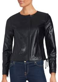 black lace up detailed leather jacket saks fifth avenue