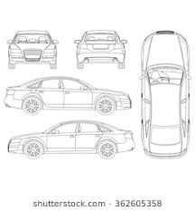 car outline front. Wonderful Car Car Line Art All View Four Top Side Back And Outline Front W