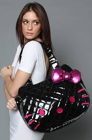 Loungefly The Hello Kitty Quilted Tote Bag in Black Patent ... & ... The Hello Kitty Quilted Tote Bag in Black Patent Adamdwight.com