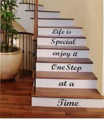 Redo Stairs Cheap One Step At A Time Vinyl Stairs Decal Lettering For Stairs Walls