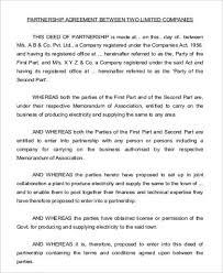 Partnership Agreement Between Companies Sample Business Agreement Between Two Parties 7 Examples