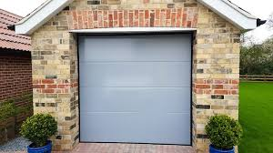 birkdale insulated sectional garage door with a light grey paint finish