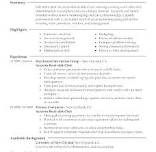 Accounts Receivable Resume Template Accounts Receivable Resume Best Account Receivable Resume