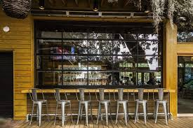 glass garage doors on restaurants