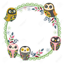 vintage owl frame layout  royalty free cliparts vectors and