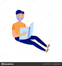 young bearded man studying with reading book isolated on white background flat male character sitting with open book in hands for back to and