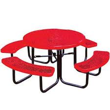 portable red diamond commercial park round picnic table