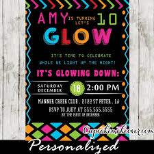 Dance Invitation Ideas Glow In The Dark Dance Party Invitations Girls Neon Colors