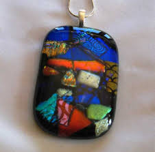 Image result for fused glass cabochon necklace -clay
