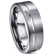 Tungsten Carbide Ring Size Chart Vakki 8mm Mens Polished Grooved Tungsten Carbide Rings