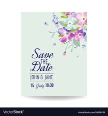 Spring Flower Template Wedding Invitation Template With Spring Flowers Vector Image
