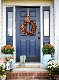 dazzling blue front door and sidelights framed in white