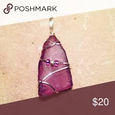 wire wrapped recycled glass pendant. Wire Wrapped Recycled Glass Pendant A