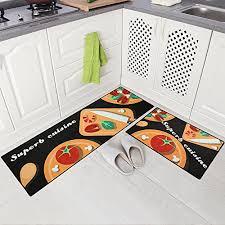 carvapet 2 piece non slip kitchen mat doormat runner rug set vegetable design