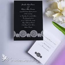 Black And White Ribbon Design Wedding Invitation IWI060