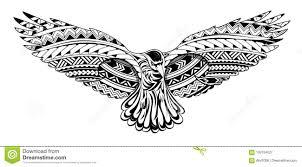 татуировка вороны с маорийскими орнаментами стиля иллюстрация