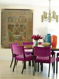 dining room with radiant orchid chairs pantone color of 2018