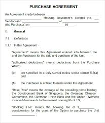 Clever Purchase Agreement Template Sample For Buying Automobile